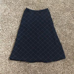 Talbots Black plaid midi skirt our silk 100% skirt